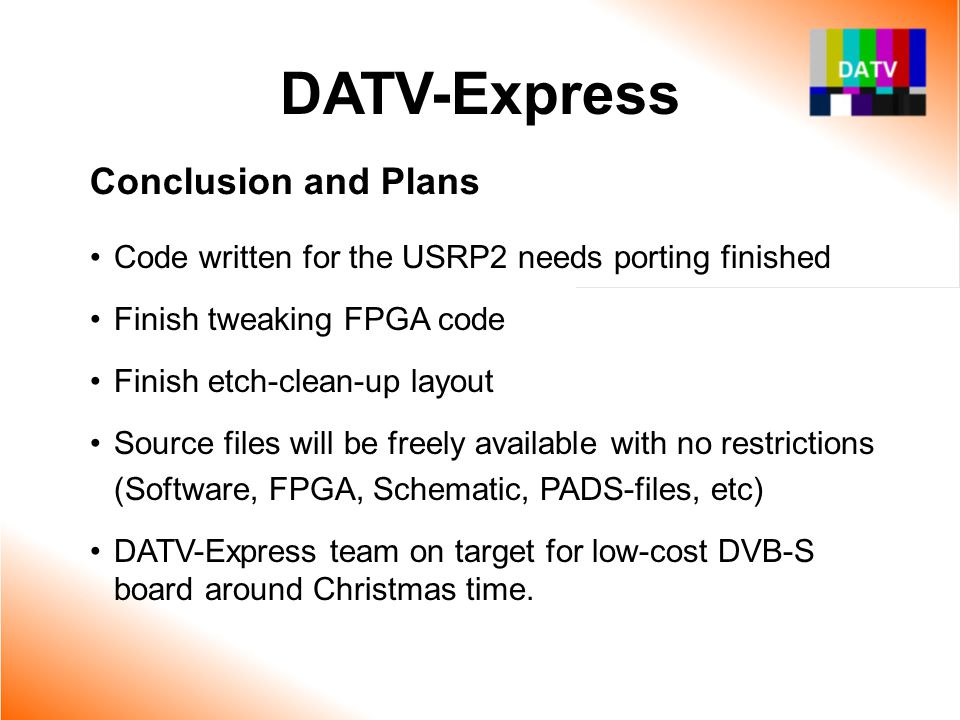 DATV-Express Conclusion and Plans