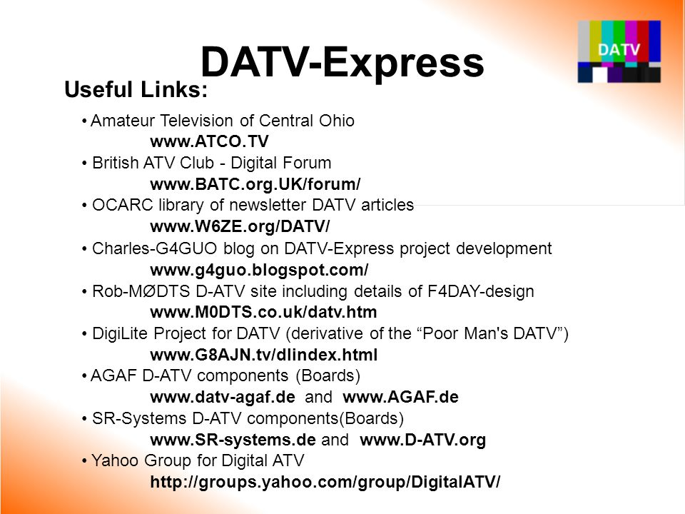 DATV-Express Useful Links: Amateur Television of Central Ohio