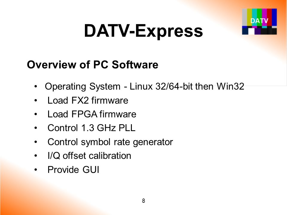 DATV-Express Overview of PC Software