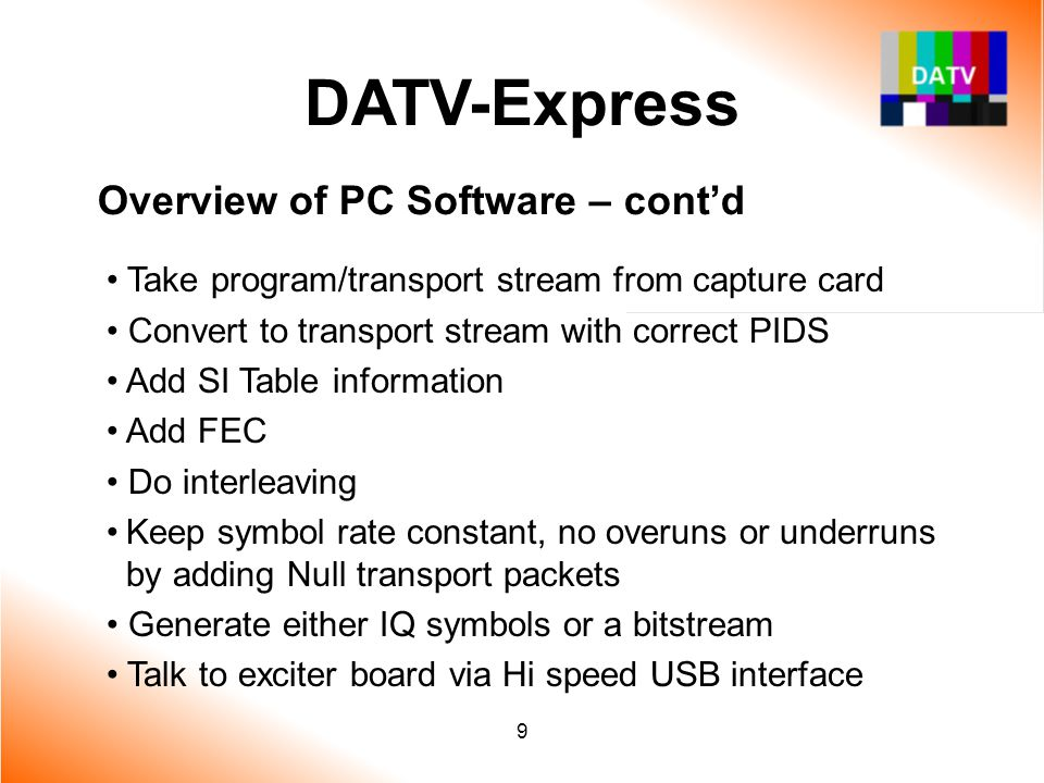 DATV-Express Overview of PC Software – cont'd