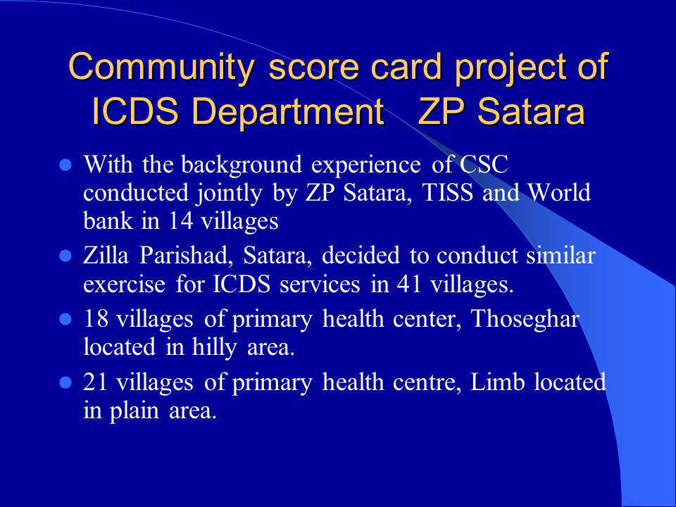 Community score card project of ICDS Department ZP Satara