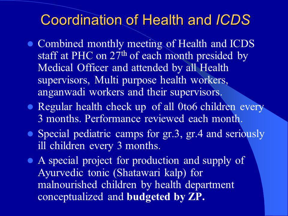 Coordination of Health and ICDS