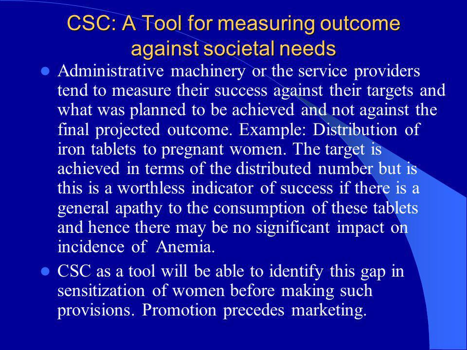 CSC: A Tool for measuring outcome against societal needs