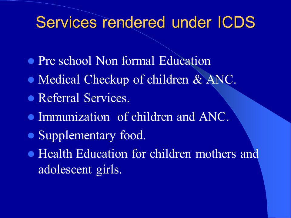 Services rendered under ICDS