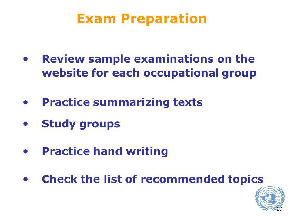 Exam Preparation Review sample examinations on the website for each occupational group. Practice summarizing texts.