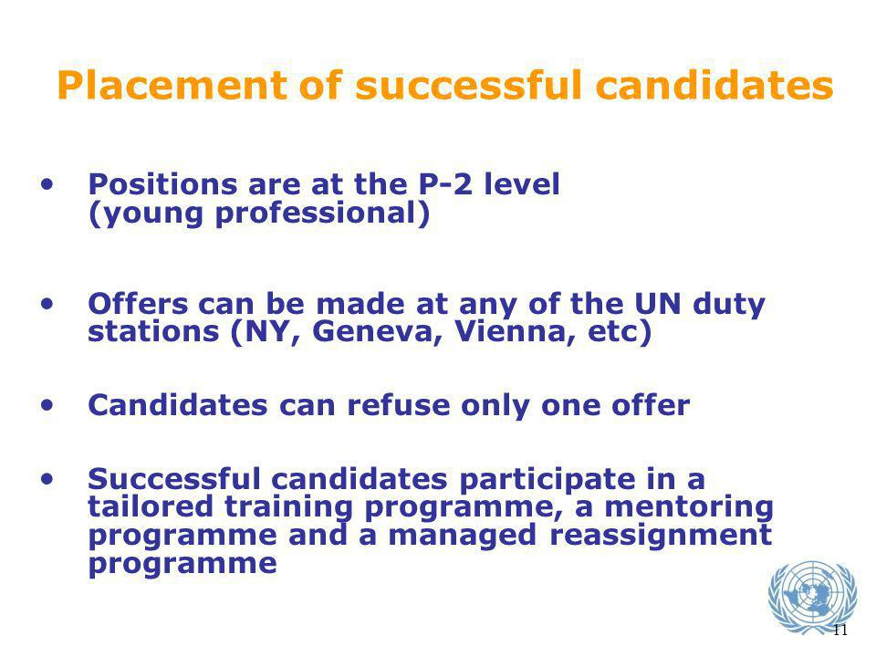 Placement of successful candidates