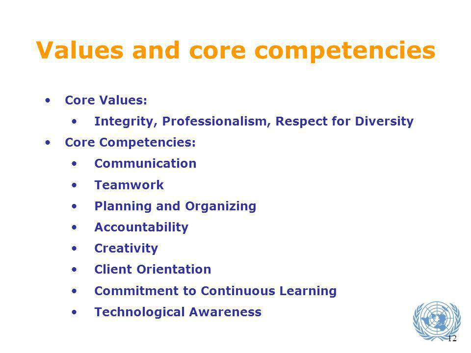 Values and core competencies