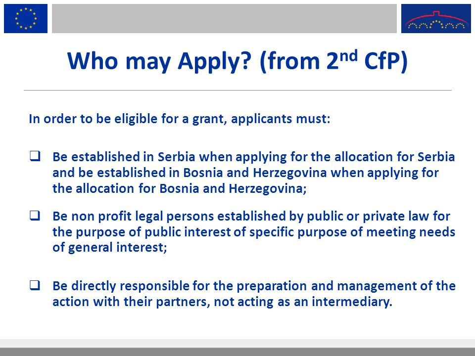 Who may Apply (from 2nd CfP)