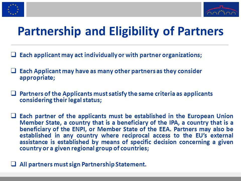 Partnership and Eligibility of Partners