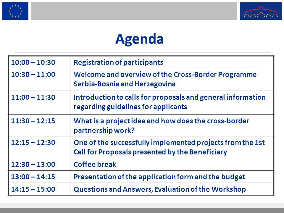 Agenda 10:00 – 10:30 Registration of participants 10:30 – 11:00