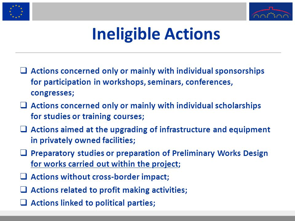 Ineligible Actions Actions concerned only or mainly with individual sponsorships for participation in workshops, seminars, conferences, congresses;