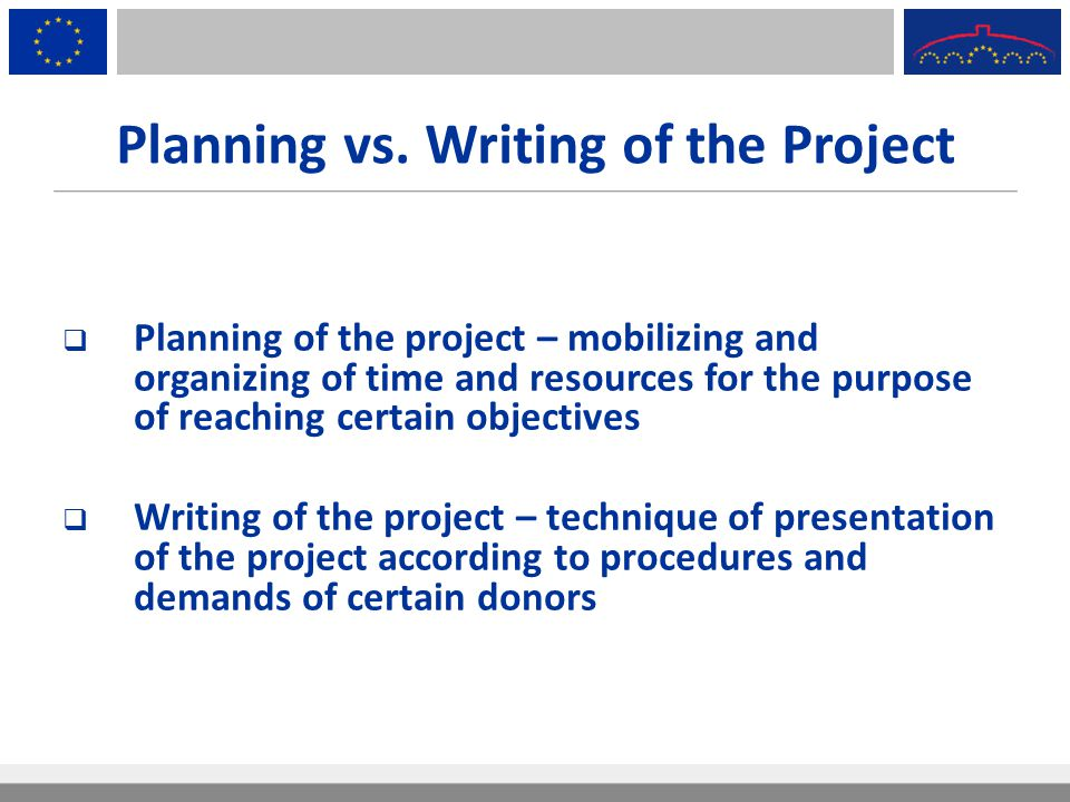 Planning vs. Writing of the Project