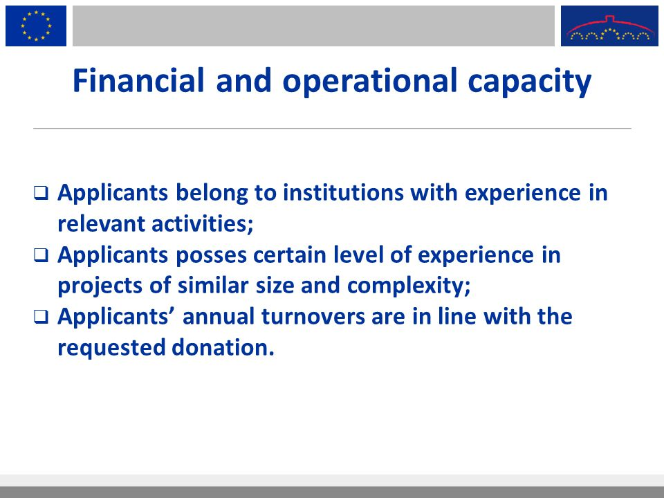 Financial and operational capacity