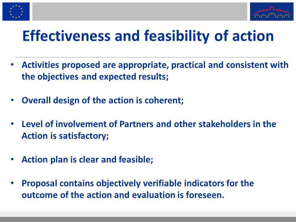Effectiveness and feasibility of action