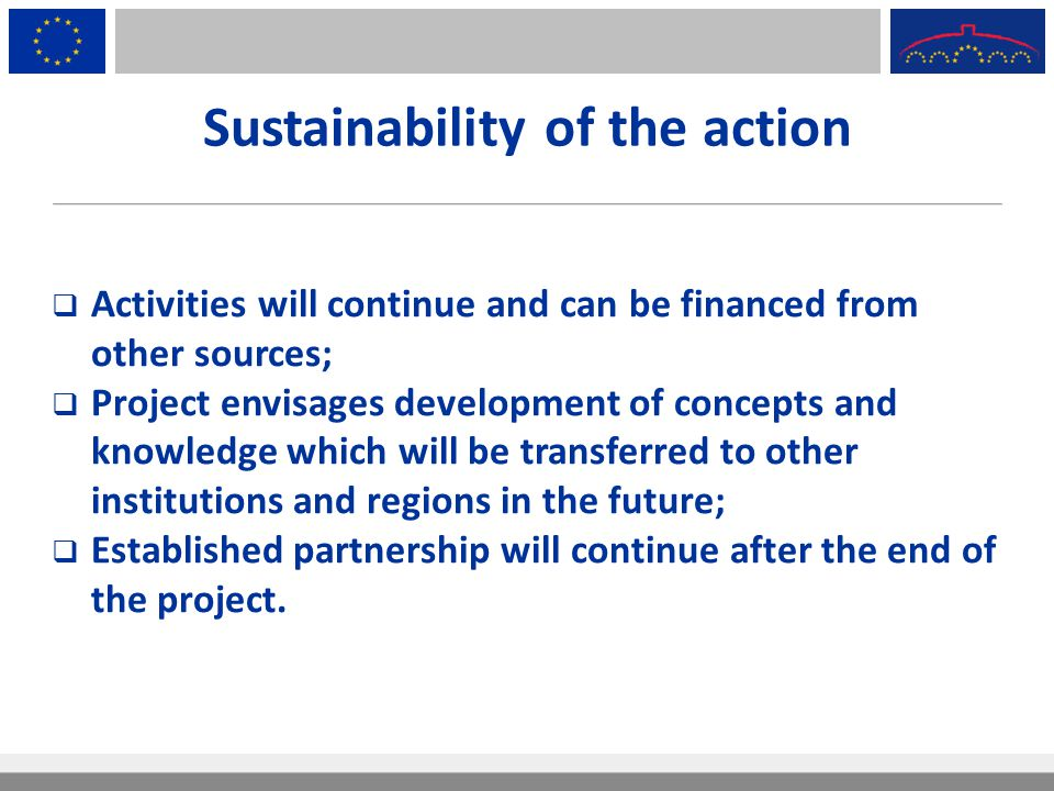 Sustainability of the action