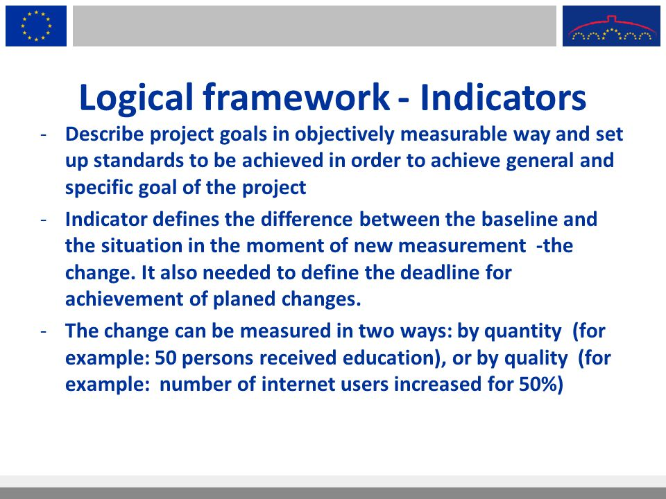 Logical framework - Indicators