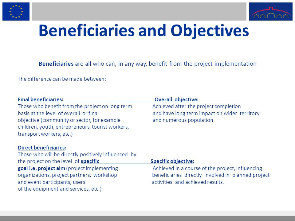 Beneficiaries and Objectives