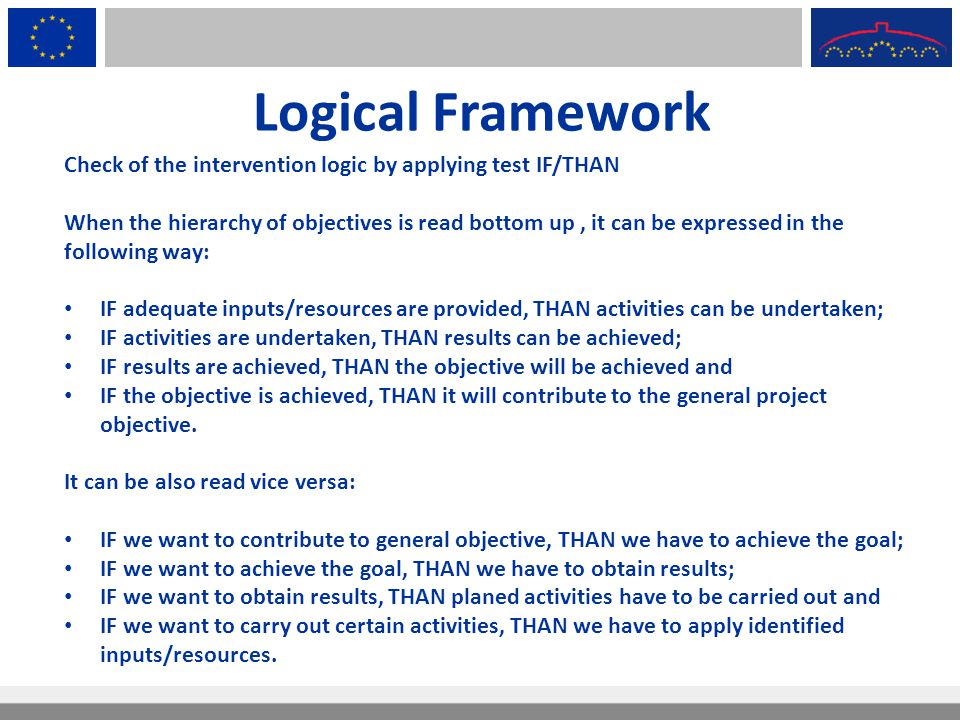 Logical Framework Check of the intervention logic by applying test IF/THAN.