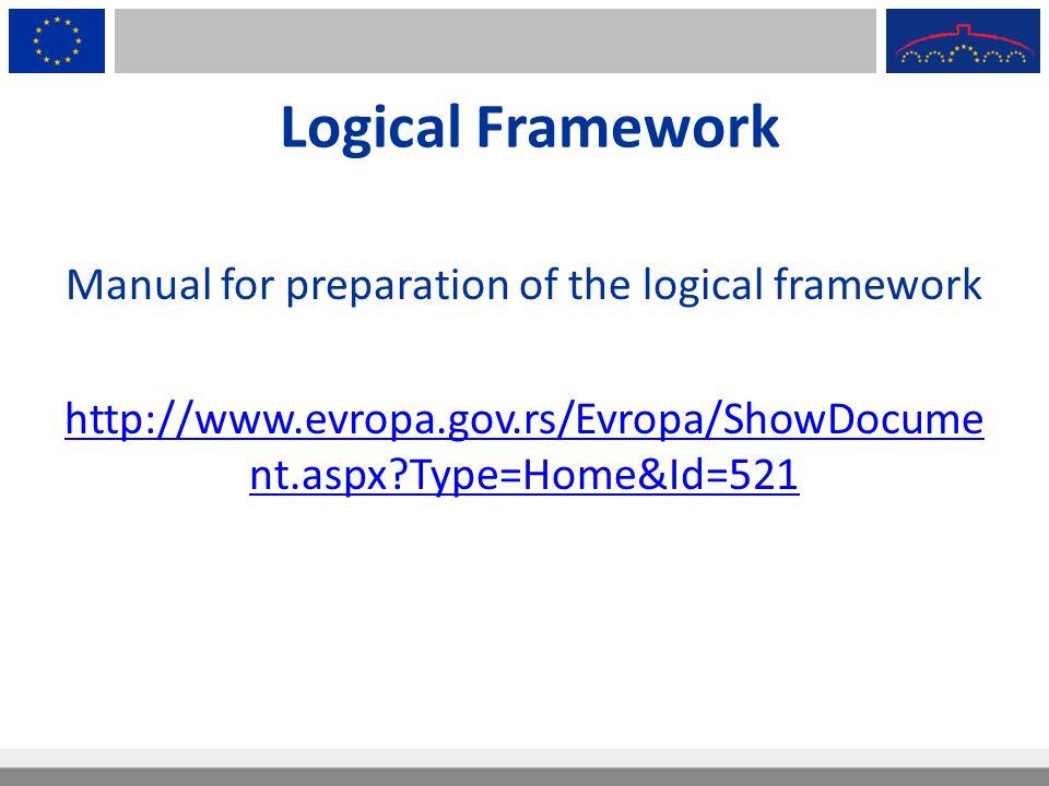 Manual for preparation of the logical framework