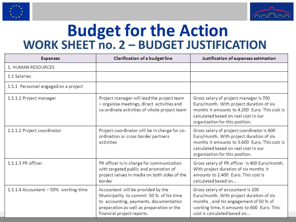 Budget for the Action WORK SHEET no. 2 – BUDGET JUSTIFICATION Expenses