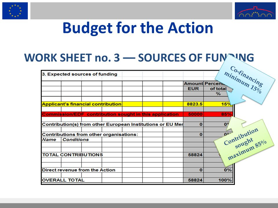 Budget for the Action WORK SHEET no. 3 –– SOURCES OF FUNDING