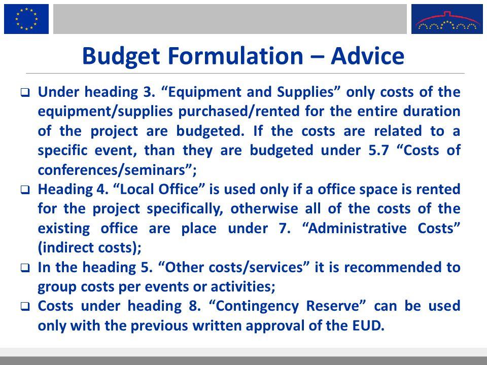 Budget Formulation – Advice