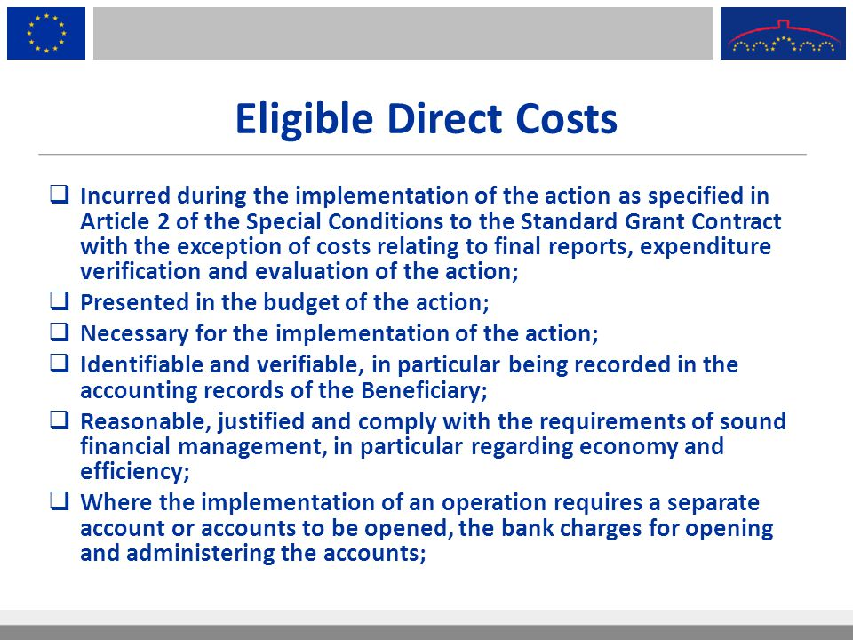 Eligible Direct Costs