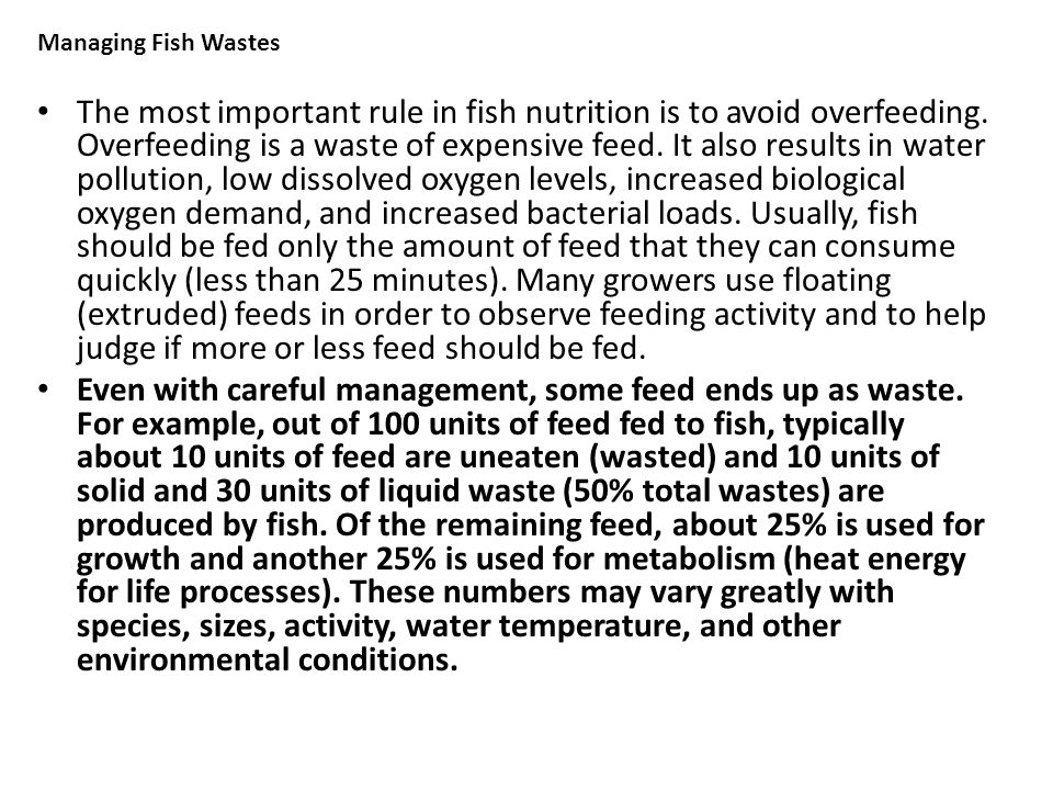 Managing Fish Wastes