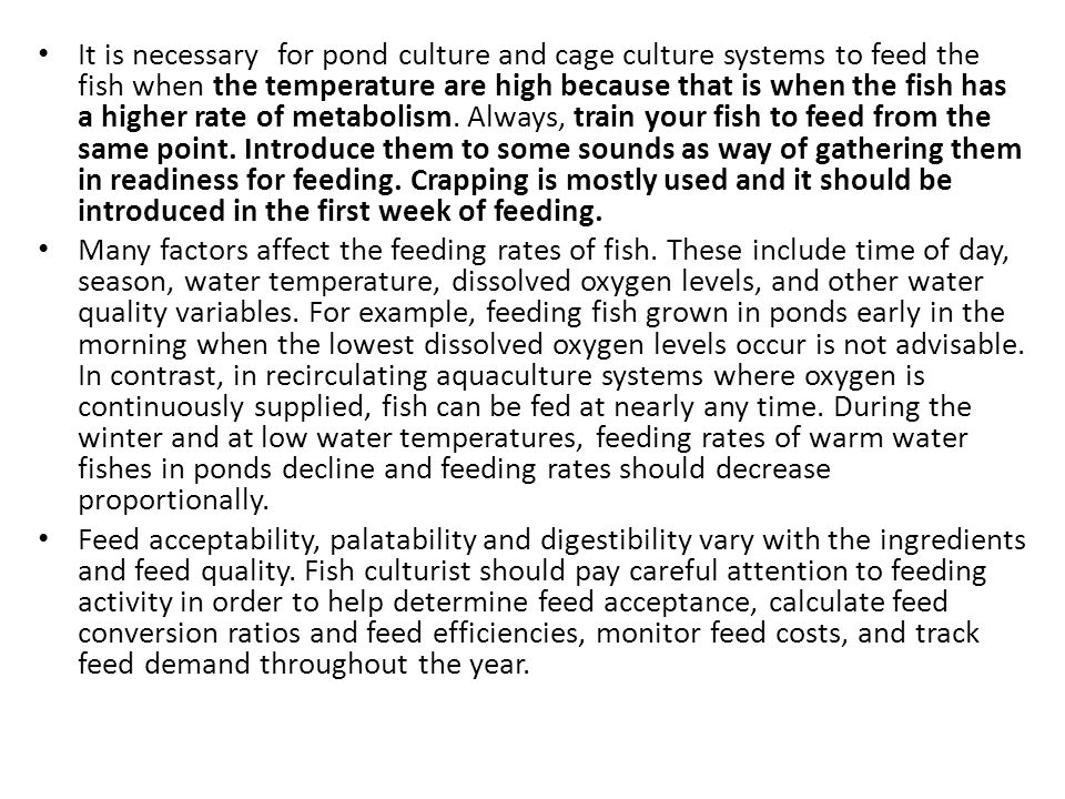 It is necessary for pond culture and cage culture systems to feed the fish when the temperature are high because that is when the fish has a higher rate of metabolism. Always, train your fish to feed from the same point. Introduce them to some sounds as way of gathering them in readiness for feeding. Crapping is mostly used and it should be introduced in the first week of feeding.