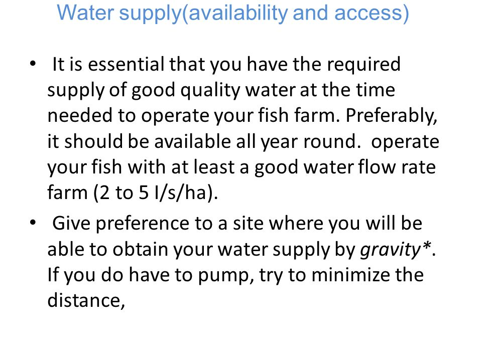 Water supply(availability and access)