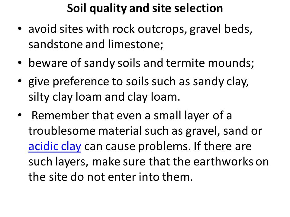 Soil quality and site selection