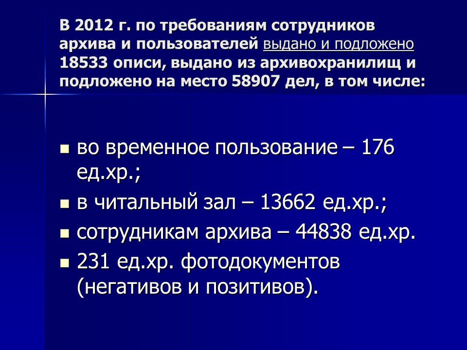 во временное пользование – 176 ед.хр.; в читальный зал – 13662 ед.хр.;