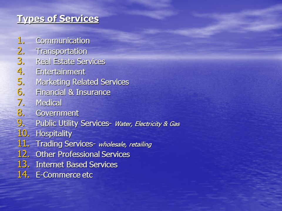 Types of Services Communication Transportation Real Estate Services