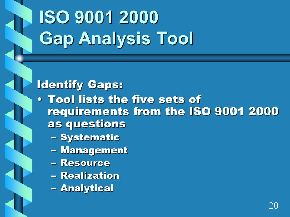 ISO 9001 2000 Gap Analysis Tool Identify Gaps: