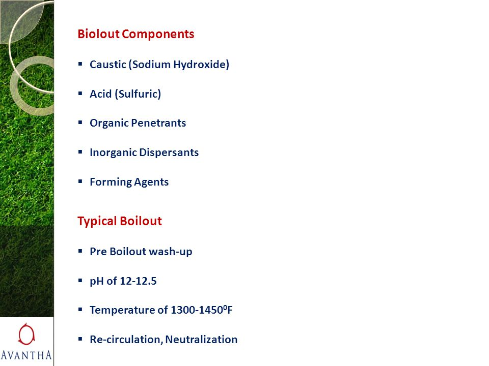 Biolout Components Typical Boilout Caustic (Sodium Hydroxide)