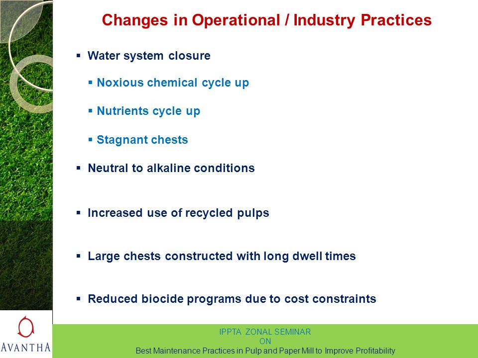 Changes in Operational / Industry Practices