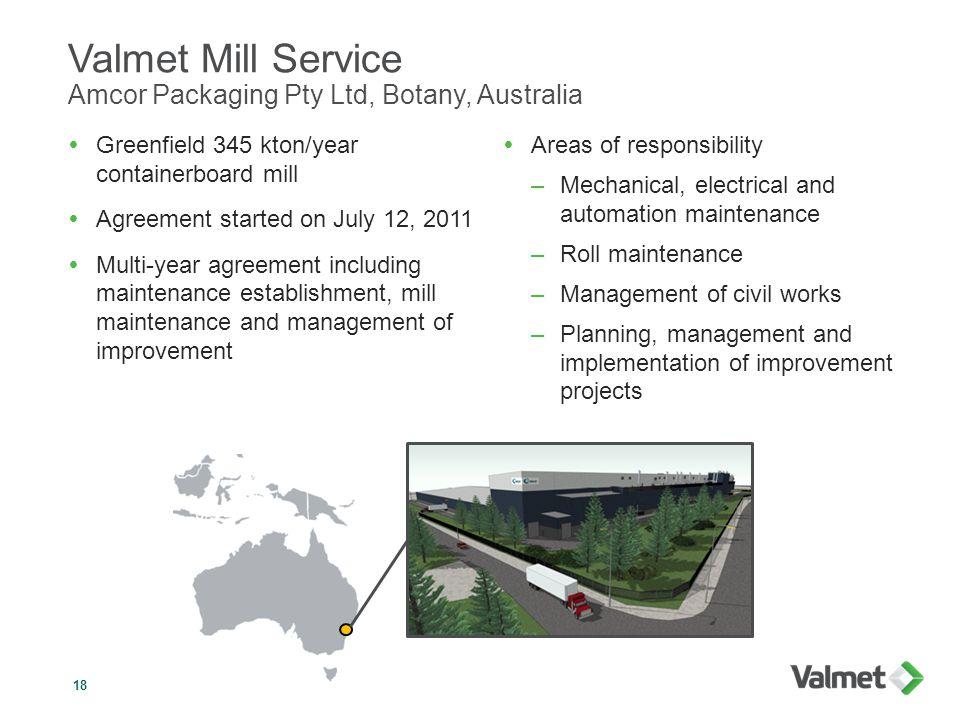 Valmet Mill Service Amcor Packaging Pty Ltd, Botany, Australia