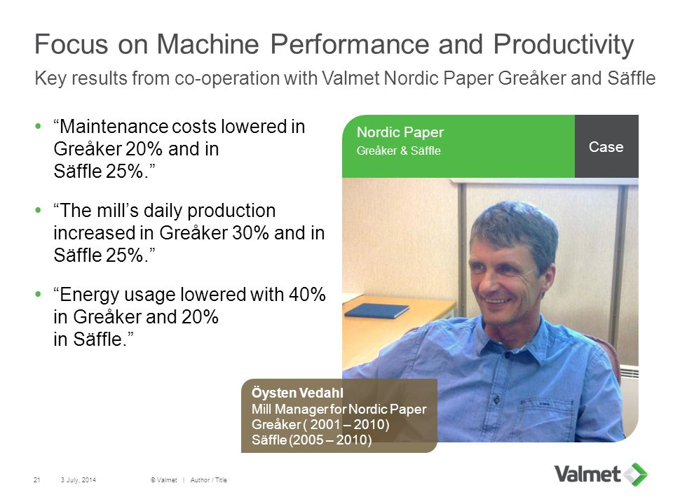 Focus on Machine Performance and Productivity