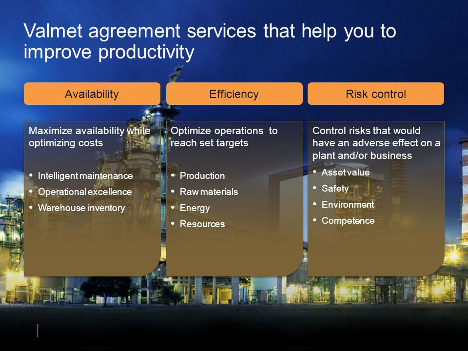 Valmet agreement services that help you to improve productivity