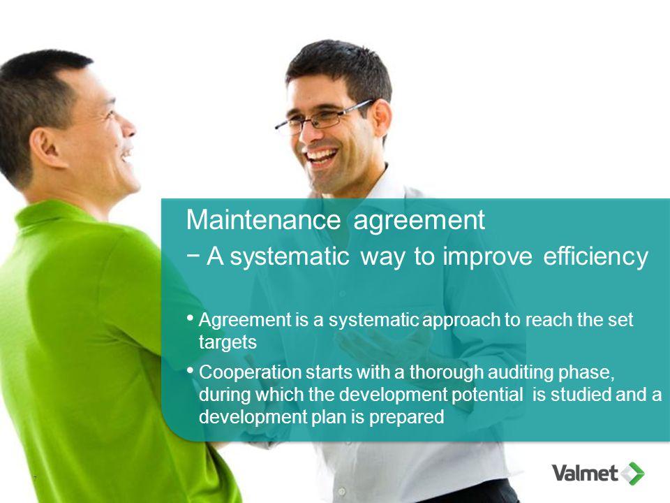 Maintenance agreement