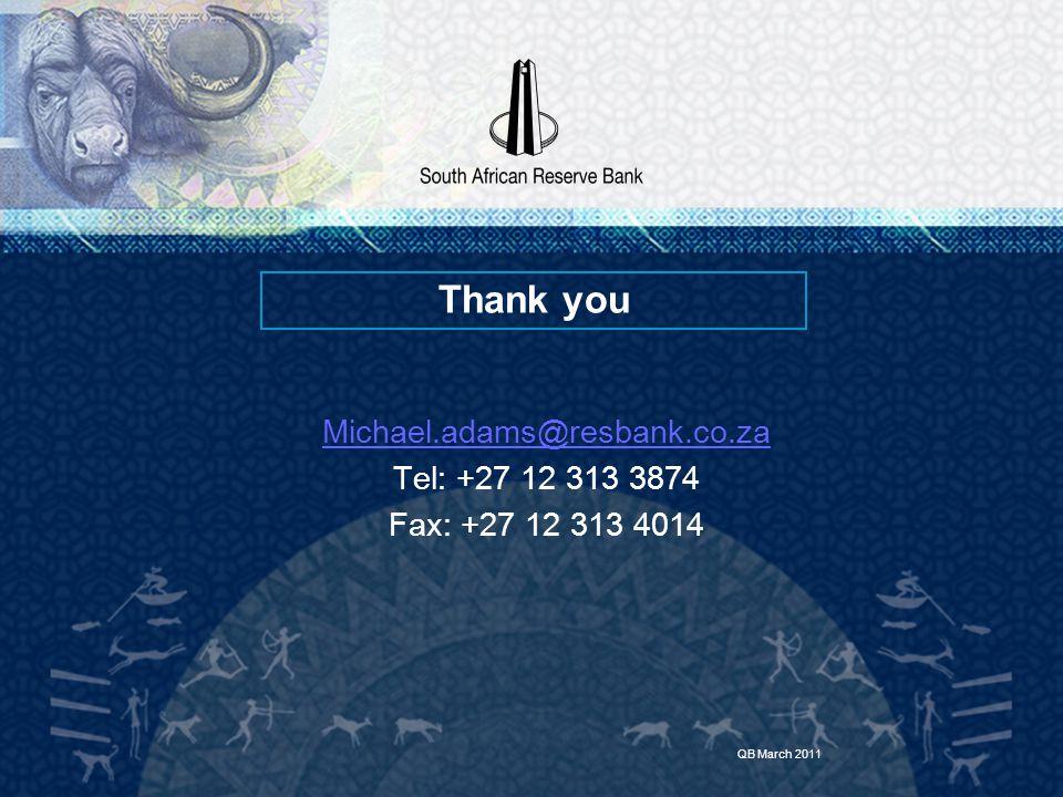 Michael.adams@resbank.co.za Tel: +27 12 313 3874 Fax: +27 12 313 4014