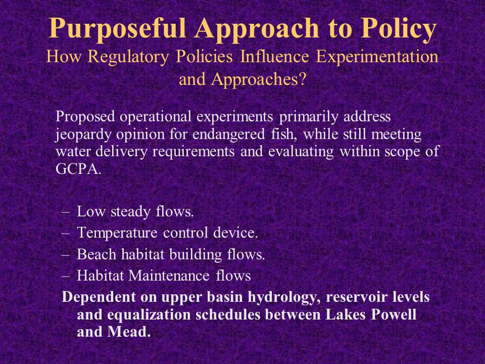 Purposeful Approach to Policy How Regulatory Policies Influence Experimentation and Approaches