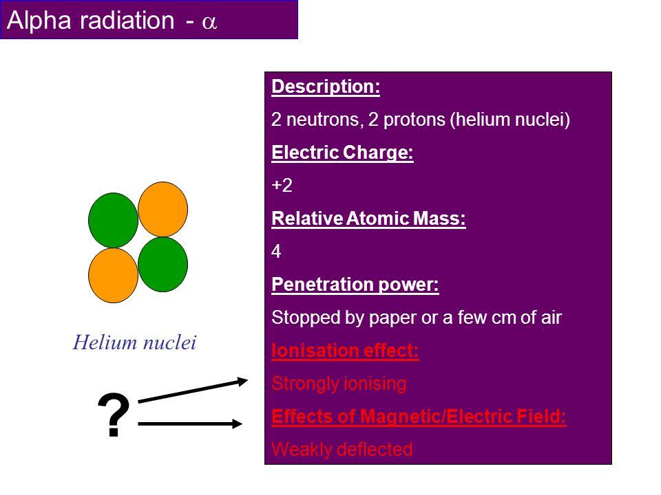 Alpha radiation -  Helium nuclei Description: