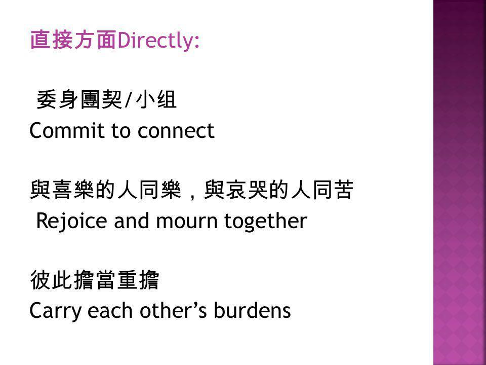 直接方面Directly: 委身團契/小组 Commit to connect 與喜樂的人同樂,與哀哭的人同苦 Rejoice and mourn together 彼此擔當重擔 Carry each other's burdens