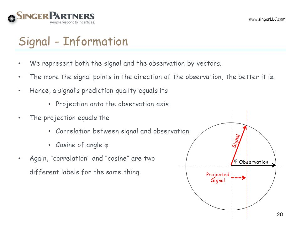 www.singerLLC.com Signal - Information. We represent both the signal and the observation by vectors.