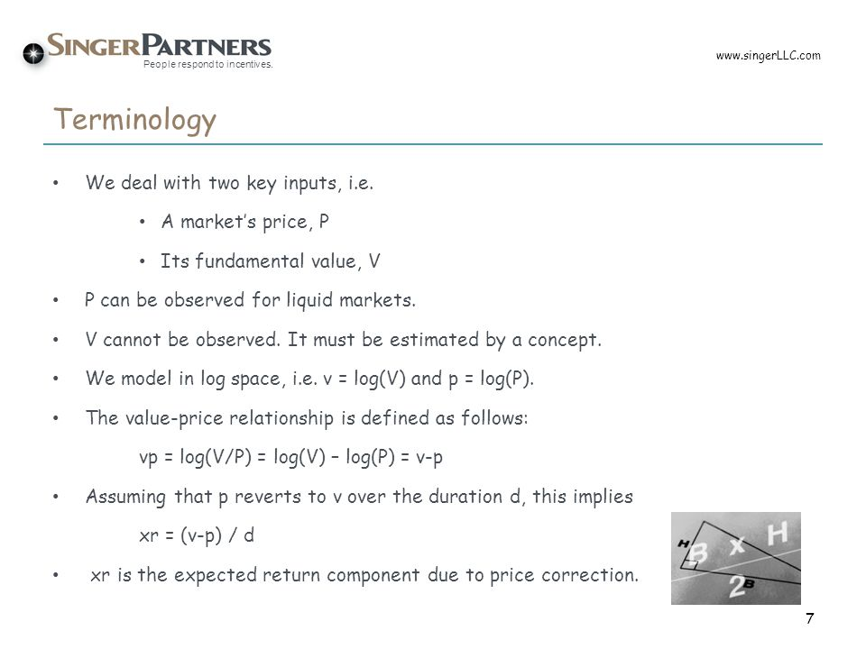 Terminology We deal with two key inputs, i.e. A market's price, P