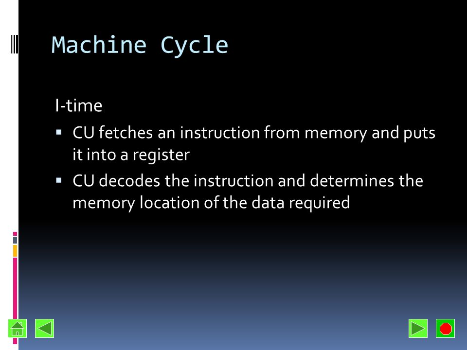 Machine Cycle I-time. CU fetches an instruction from memory and puts it into a register.