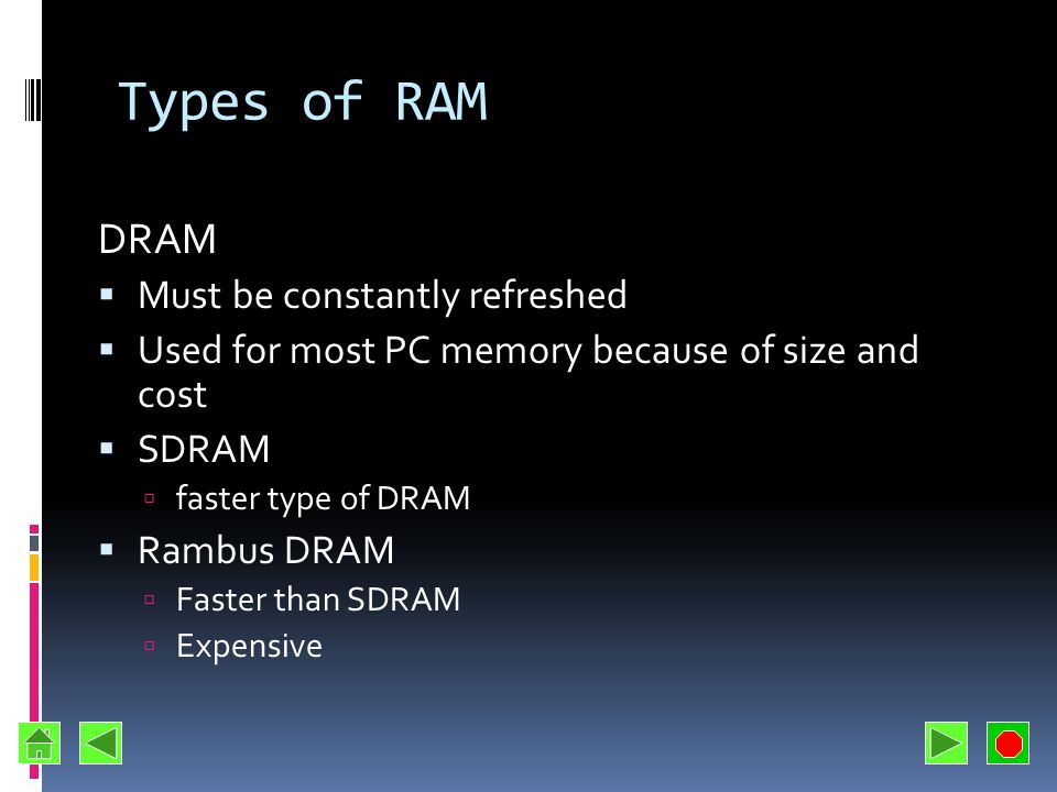 Types of RAM DRAM Must be constantly refreshed
