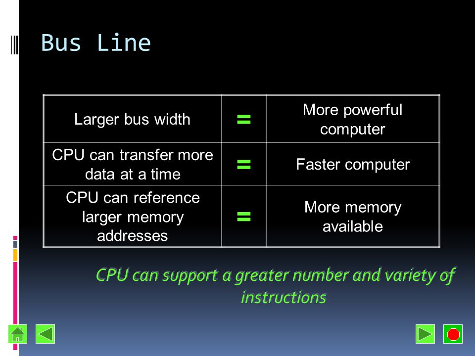 Bus Line Larger bus width. = More powerful computer. CPU can transfer more data at a time. Faster computer.