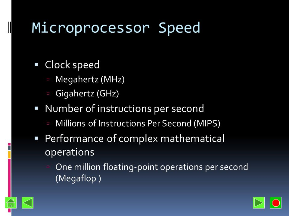Microprocessor Speed Clock speed Number of instructions per second